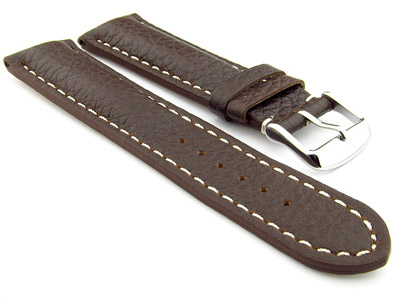 Padded Watch Strap Genuine Leather FREIBURG VIP Dark Brown/White 22mm