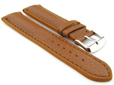 Padded Watch Strap Genuine Leather FREIBURG VIP Brown/Brown 22mm