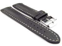 Padded Watch Strap Genuine Leather FREIBURG VIP Black/White 18mm