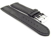 Padded Watch Strap Genuine Leather FREIBURG VIP Black/Black 20mm