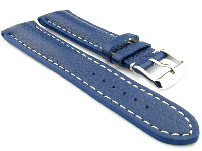 Padded Watch Strap Genuine Leather FREIBURG VIP Blue/White 22mm