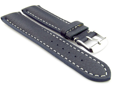 Padded Watch Strap Genuine Leather FREIBURG VIP Navy Blue/White 22mm