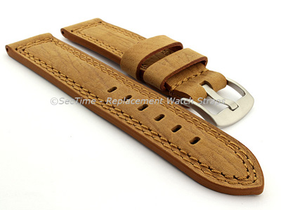 Waterproof Leather Watch Strap Galaxy Brown 22mm