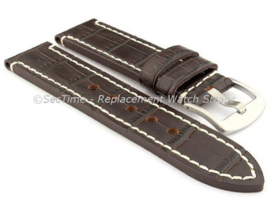 Genuine Leather Watch Strap CROCO GRAND PANOR Dark Brown/White 22mm