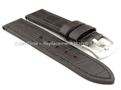 Genuine Leather Watch Strap CROCO GRAND PANOR Black/Black 22mm