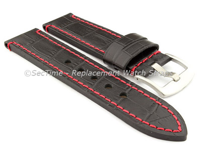 Genuine Leather Watch Strap CROCO GRAND PANOR Black/Red 22mm