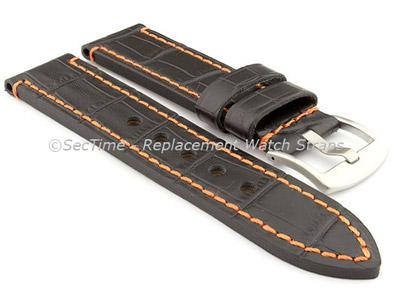 Genuine Leather Watch Strap CROCO GRAND PANOR Black/Orange 20mm