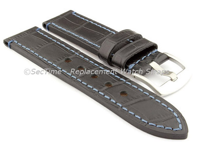 Genuine Leather Watch Strap CROCO GRAND PANOR Black/Blue 20mm