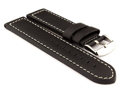 22mm Black/White - HAVANA Genuine Leather Watch Strap / Band