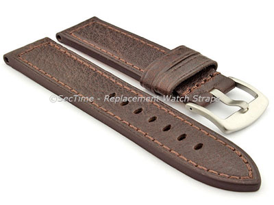Replacement WATCH STRAP Luminor Genuine Leather Dark Brown/Brown 20mm