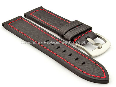 Replacement WATCH STRAP Luminor Genuine Leather Black/Red 24mm