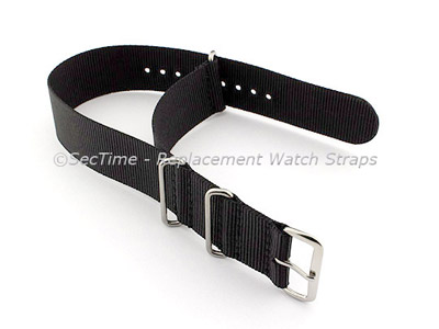 NATO G10 Watch Strap Military Nylon Divers (3 rings) Black 22mm