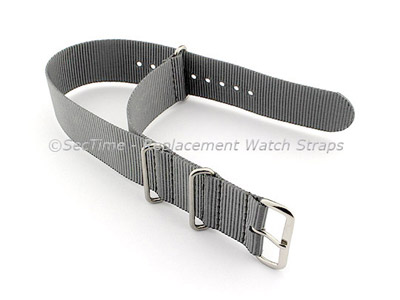 NATO G10 Watch Strap Military Nylon Divers (3 rings) Ash Grey 24mm