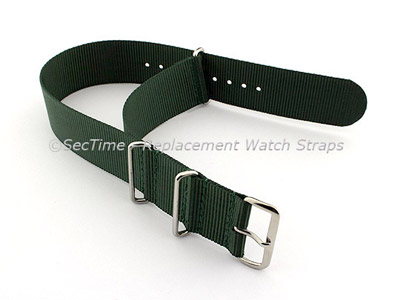 NATO G10 Watch Strap Military Nylon Divers (3 rings) Green 22mm