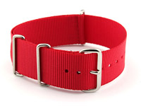 NATO G10 Watch Strap Military Nylon Divers (3 rings) Red 22mm