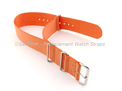 NATO G10 Watch Strap Military Nylon Divers (3 rings) Orange 18mm