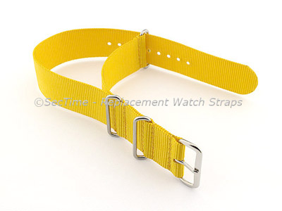 NATO G10 Watch Strap Military Nylon Divers (3 rings) Yellow 18mm