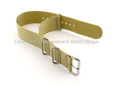 NATO G10 Watch Strap Military Nylon Divers (3 rings) Light Green 18mm