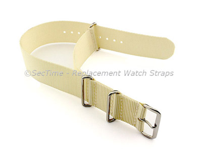 NATO G10 Watch Strap Military Nylon Divers (3 rings) Cream 24mm