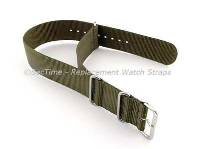 NATO G10 Watch Strap Military Nylon Divers (3 rings) Olive Green 18mm