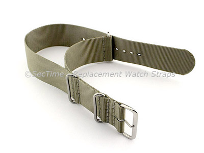 NATO G10 Watch Strap Military Nylon Divers (3 rings) Olive Green/Grey 22mm
