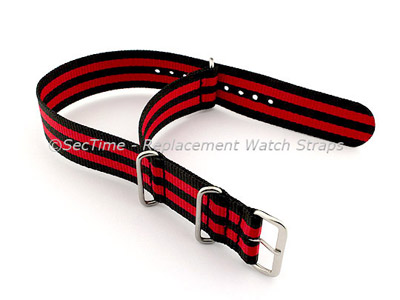 NATO G10 Watch Strap Military Nylon Divers (3 rings) Black/Red 18mm