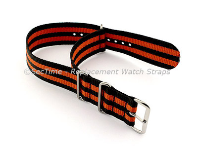 NATO G10 Watch Strap Military Nylon Divers (3 rings) Black/Orange 22mm