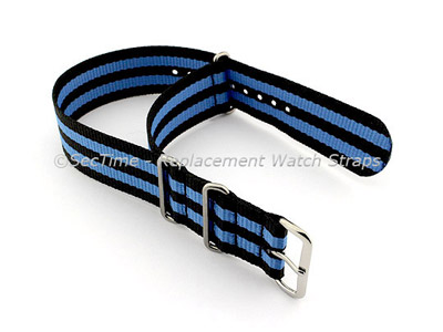 NATO G10 Watch Strap Military Nylon Divers (3 rings) Black/Blue 20mm