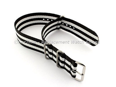 NATO G10 Watch Strap Military Nylon Divers (3 rings) Black/White 20mm