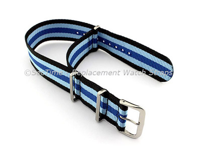 NATO G10 Watch Strap Military Nylon Divers (3 rings) Black/Blue/N.Blue 22mm
