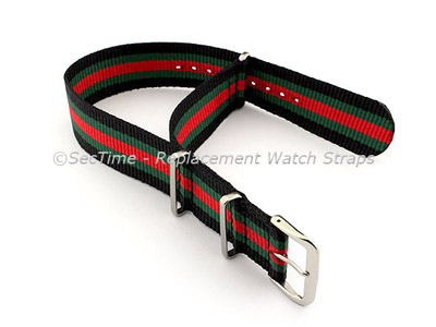 NATO G10 Watch Strap Military Nylon Divers (3 rings) Black/Green/Red 18mm