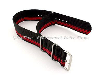 NATO G10 Watch Strap Military Nylon Divers (3 rings) Black/Red (A) 24mm