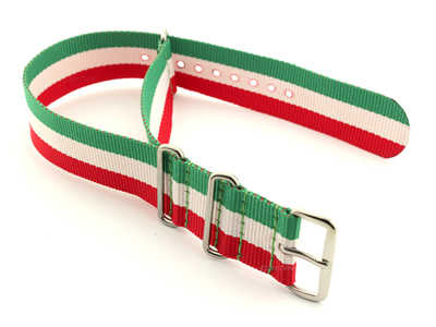 NATO G10 Watch Strap Military Nylon Divers 3 rings Green/White/Red (Italy) 18mm