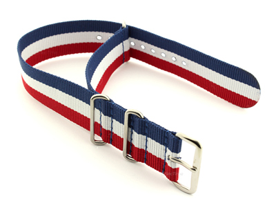NATO G10 Watch Strap Military Nylon Divers 3 rings Blue/White/Red (France) 18mm