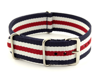 NATO G10 Watch Strap Military Nylon Divers 3 rings N.Blue/White/Red (5) 20mm