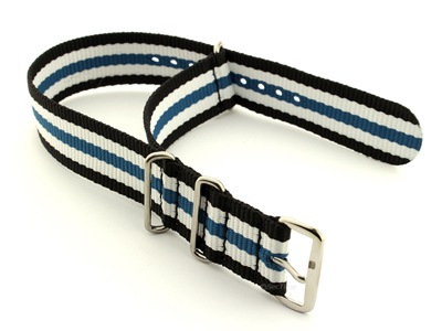 NATO G10 Watch Strap Military Nylon Divers 3 rings Black/White/Blue (5) 20mm
