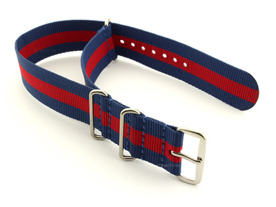 NATO G10 Watch Strap Military Nylon Divers 3 rings Blue/Red (3) 24mm