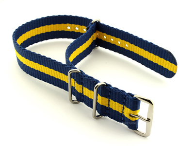 NATO G10 Watch Strap Military Nylon Divers 3 rings Blue/Yellow (3) 24mm