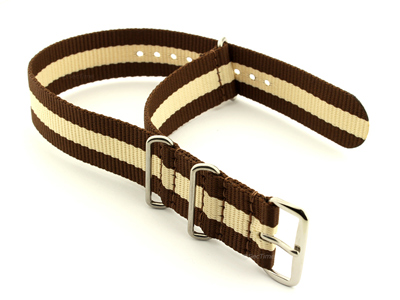 NATO G10 Watch Strap Military Nylon Divers 3 rings Brown/Cream (3) 22mm