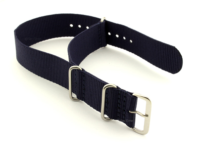 NATO G10 Watch Strap Military Nylon Divers 3 rings Night Navy Blue 24mm