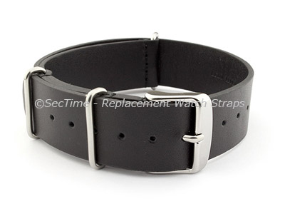 Leather NATO Watch Strap Band (3 rings) Black 22mm