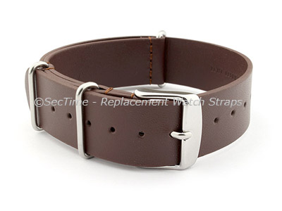 Leather NATO Watch Strap Band (3 rings) Dark Brown 20mm