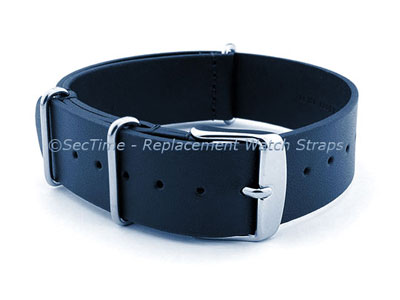 Leather NATO Watch Strap Band (3 rings) Navy Blue 24mm