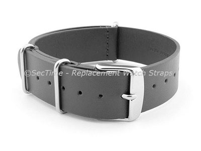 Leather NATO Watch Strap Band (3 rings) Grey 24mm