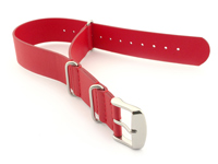Leather NATO Watch Strap Band (3 rings) Red 20mm