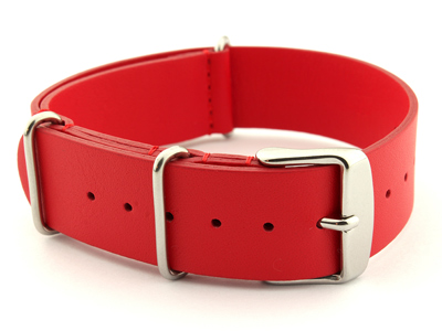 Leather NATO Watch Strap Band (3 rings) Red 22mm