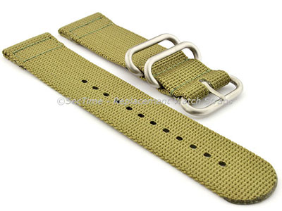 TWO-PIECE NATO Strong Nylon Watch Strap Divers Brushed Rings Olive Green 20mm