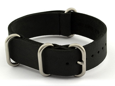 22mm Black - Genuine Leather Watch Strap / Band NATO VINTAGE, Military
