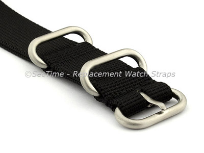 24mm Black - Nylon Watch Strap / Band Strong Heavy Duty (4/5 rings) Military