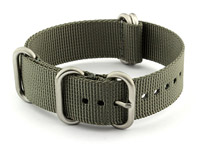 24mm Grey - Nylon Watch Strap / Band Strong Heavy Duty (4/5 rings) Military